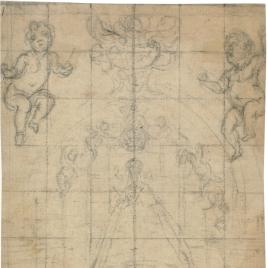 Estudio de la Virgen con el Niño en un retablo