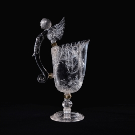 Rock crystal ewer with a handle in the form of a winged beast