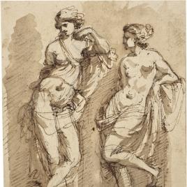 Dos estudios de figuras femeninas apoyadas en pilares