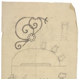 Calco de la planta del altar de la Catedral de Oviedo y apuntes decorativos