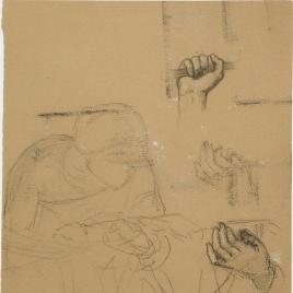 Apunte de figura femenina y tres estudios de manos