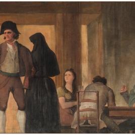 Bebedores sentados a una mesa en el Café de Levante de Madrid