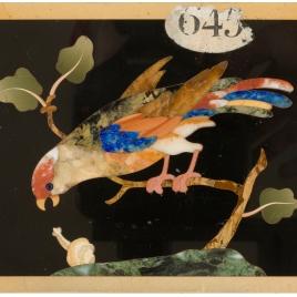 Placa con pájaro y un caracol