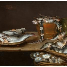 Bodegón: mesa con pescados, ostras y un gato