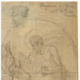 El evangelista San Mateo. Cabeza de hombre con perilla y gorra / El evangelista San Lucas