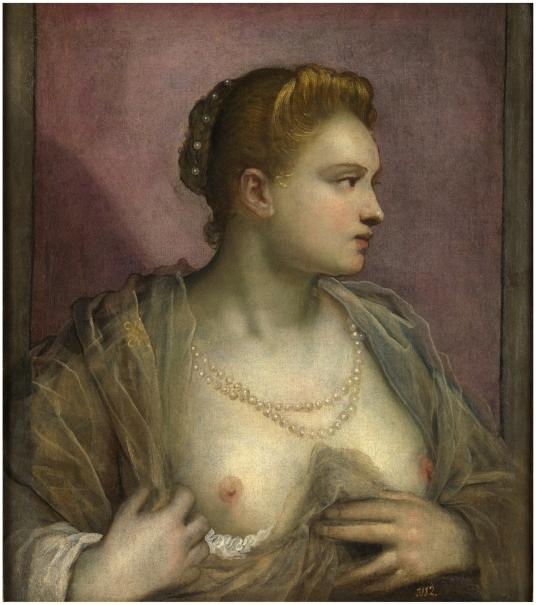 Dama descubriendo el seno