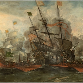 Combate naval y turcos saltando al abordaje