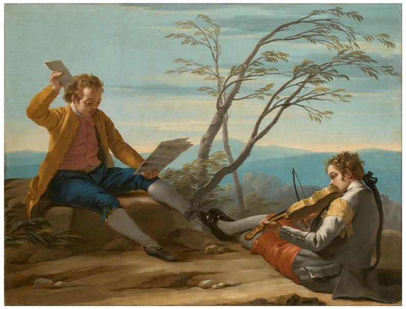 Dos muchachos, uno solfeando y otro tocando el violín