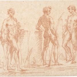 Estudio de tres desnudos masculinos en diferentes actitudes