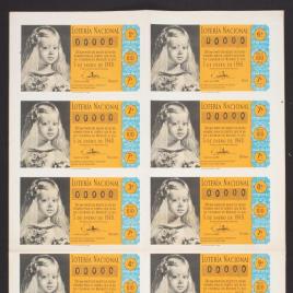 Capilla de billete de Lotería Nacional para el sorteo de 5 de enero de 1960