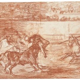 Varilarguero y chulos haciendo el quite a un torero cogido [Mort de Pepe Illo (3e composition)]