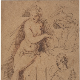 Semi-nude woman and three studies of a girl