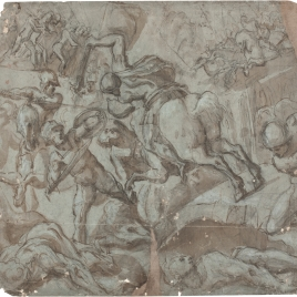 Horatius Cocles on horseback defending the Sublician Bridge against Lars Porsenna and the Etruscan