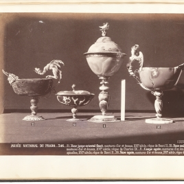 Jasper boat-shaped cup with a dragon, Boat-shaped agate cup with two masks and cover, Cup with cover and Boat-shaped agate cup with a winged siren