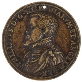 "Felipe II de España - Belerofonte, montado sobre Pegaso, mata a la Quimera (""HINC VIGILO"")"