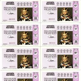 Capilla de billete de Lotería Nacional para el sorteo de 15 de julio de 1972
