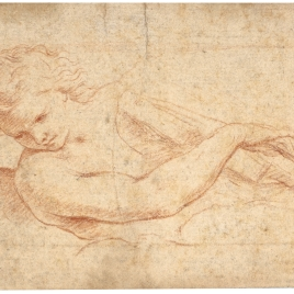 Media figura de ángel tocando una viola