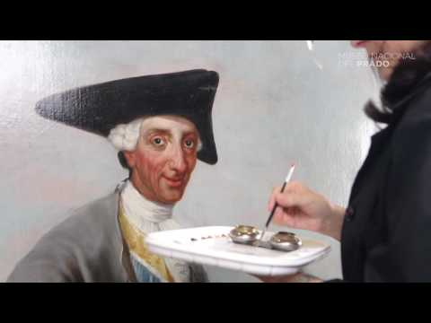 "The restoration of ""Charles III in Hunting Dress"" by Francisco de Goya."