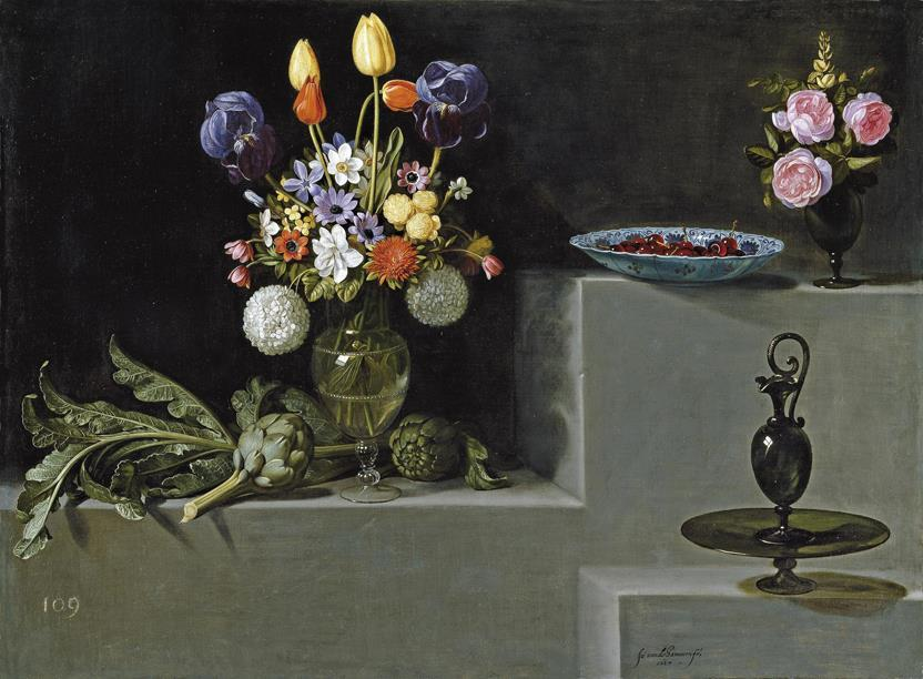 Still life with Artichokes, Flowers and glass (Didu reproduction)