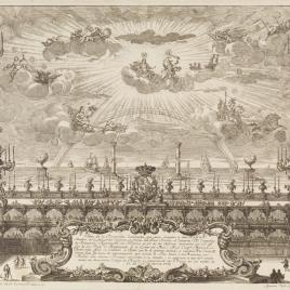 Decoración frente al Real Palacio de Barcelona con motivo de la llegada de Carlos III