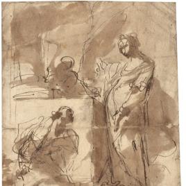 Figura femenina en pie y hombre arrodillado