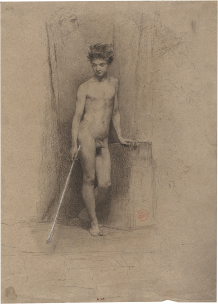 Standing male nude facing front, with left hand leaning on a stone block