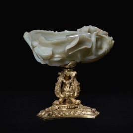Chinese jade vessel with a silver-gilt foot