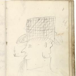 Cabeza de perfil con sombrero de copa alta, fumando en pipa