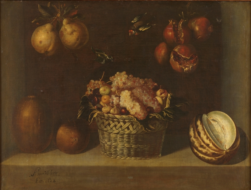 Still life with basket of grapes and other fruits