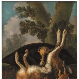 Bodegón de caza: liebre y varias aves