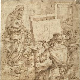 San Lucas pintando a la Virgen