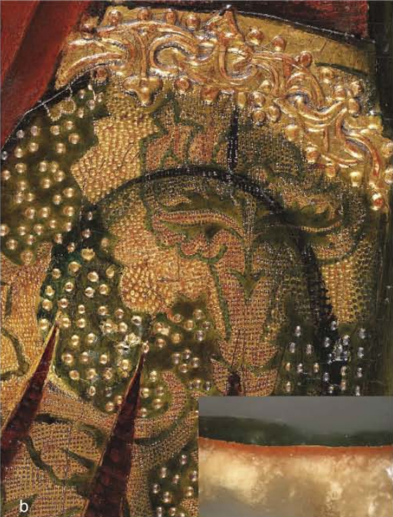 Figure 6. (b) Martín Bernat, Ferdinand I of Castile welcoming Saint Dominic: detail of the gilding with an inset showing a cross-section.