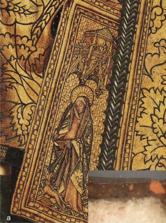 <p><strong>Figure 6. (a)</strong>&nbsp;Bartolom&eacute; Bermejo,&nbsp;<em>Saint Dominic of Silos enthroned as a Bishop</em>: detail of the gilding with an inset showing a cross-section.</p>