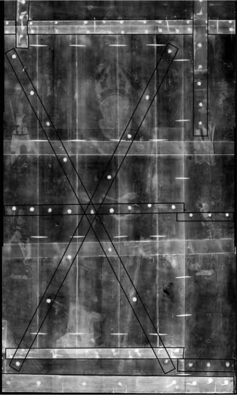 <p><strong>Figure 2.</strong>&nbsp;Bartolom&eacute; Bermejo,&nbsp;<em>Saint Dominic of Silos enthroned as a Bishop</em>. X-radiograph. The original reinforcement system (in the form of a cross of Saint Andrew) has been digitally enhanced with black lines.</p>