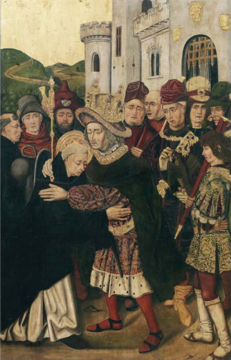 Figure 4. Martín Bernat, Ferdinand I of Castile welcoming Saint Dominic (1478–1479). Oil on panel, 145 × 93.5 cm. Prado Museum (P-6709).