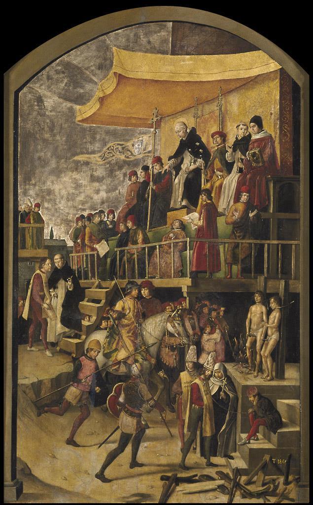 Auto de fe presidido por santo Domingo de Guzmán [Berruguete]