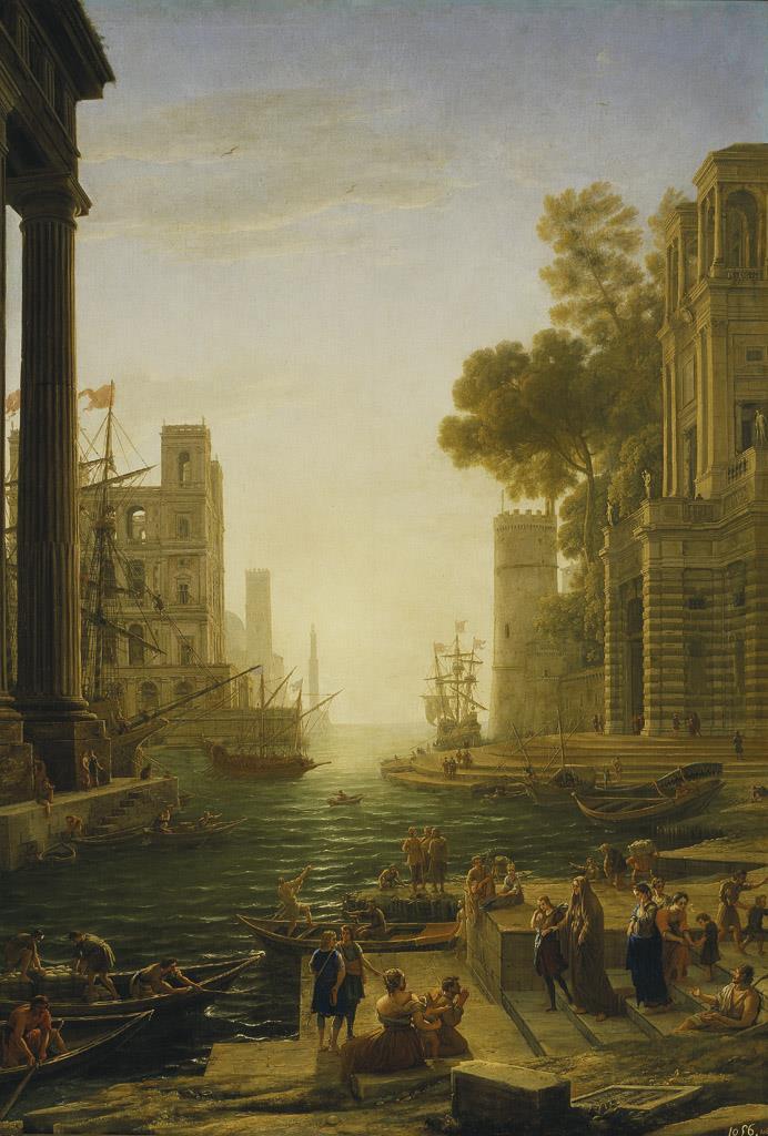 Paisaje con el embarco en Ostia de santa Paula Romana [Claudio de Lorena]