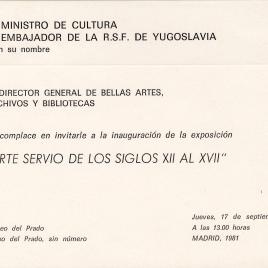 Invitación a la inauguración de la exposición