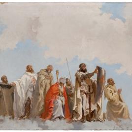 Santos y obispos con caballeros de órdenes militares, en gloria