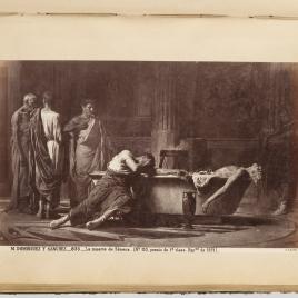 Séneca, después de abrirse las venas, se mete en un baño y sus amigos, poseídos de dolor, juran odio a Nerón que decretó la muerte de su maestro