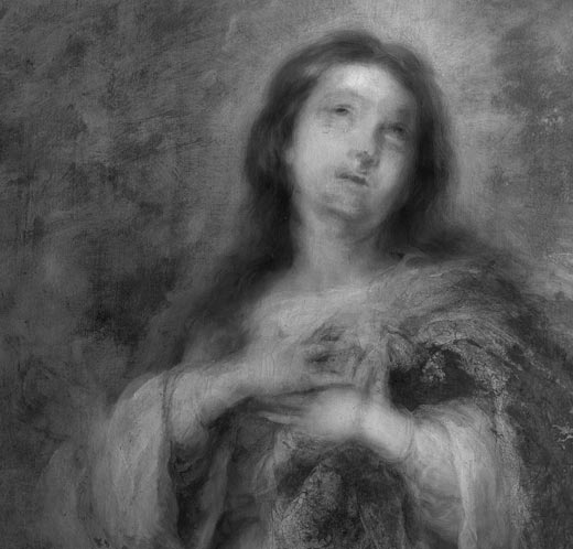 Fig.8. Infra-red reflectography shows that the positions of the Virgin's face and hands were altered during the execution of the work