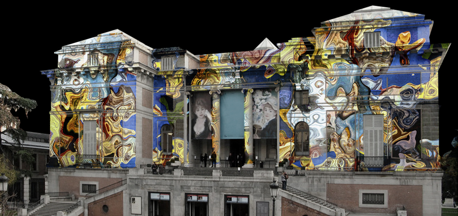 Amalgama el Prado. Videomapping en la fachada de Goya