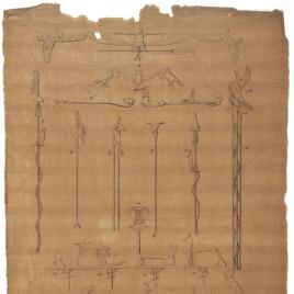 Insignias militares, bastón augural y emblemas de los templos de Isis en Filae, Horus en Edfú y otros edificios egipcios