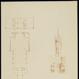 Planta y alzado del proyecto de la Iglesia Evangélica Española que se ha de construir en Madrid