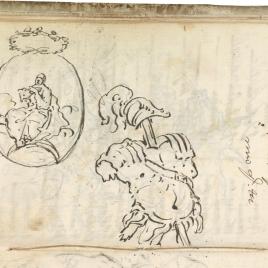 Estudio de coraza y casco a la antigua, en percha. Medallón con imagen de la Inmaculada. Inicio de carta