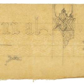 Calco de detalles decorativos caligráficos y geométricos para el tabernáculo de la Catedral de Oviedo