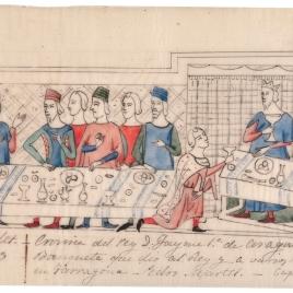 Calco con la escena del banquete en honor a Jaime I del códice Llibre dels feits