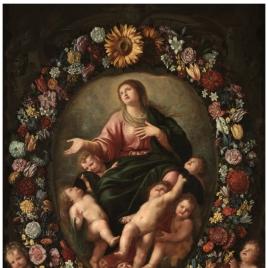Guirnalda de flores con la Asunción de la Virgen