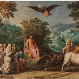 Alegoría del mes de Julio con el triunfo de Júpiter y el signo de Leo