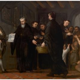 San Agustín repartiendo los bienes de los ricos entre los pobres